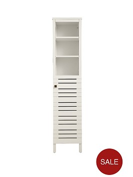 slatted tall bathroom cabinet white