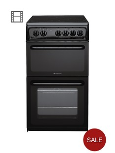 hotpoint-hae51ks-50cm-twin-cavity-electric-cooker-with-ceramic-hob-black