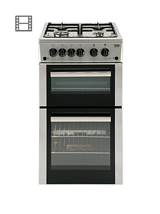 beko-bdg582sp-50cm-twin-cavity-gas-cooker-cooker-with-connection-silver