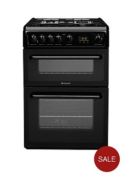 hotpoint-hag60k-60cm-double-oven-fsd-gas-cooker-black