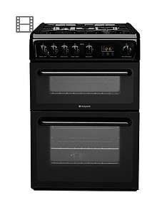 hotpoint-hag60k-60cm-double-oven-gas-cooker-with-fsd-black