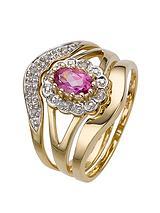 9 Carat Yellow Gold 5 Point Diamond and Amethyst Three Piece Bridal Set