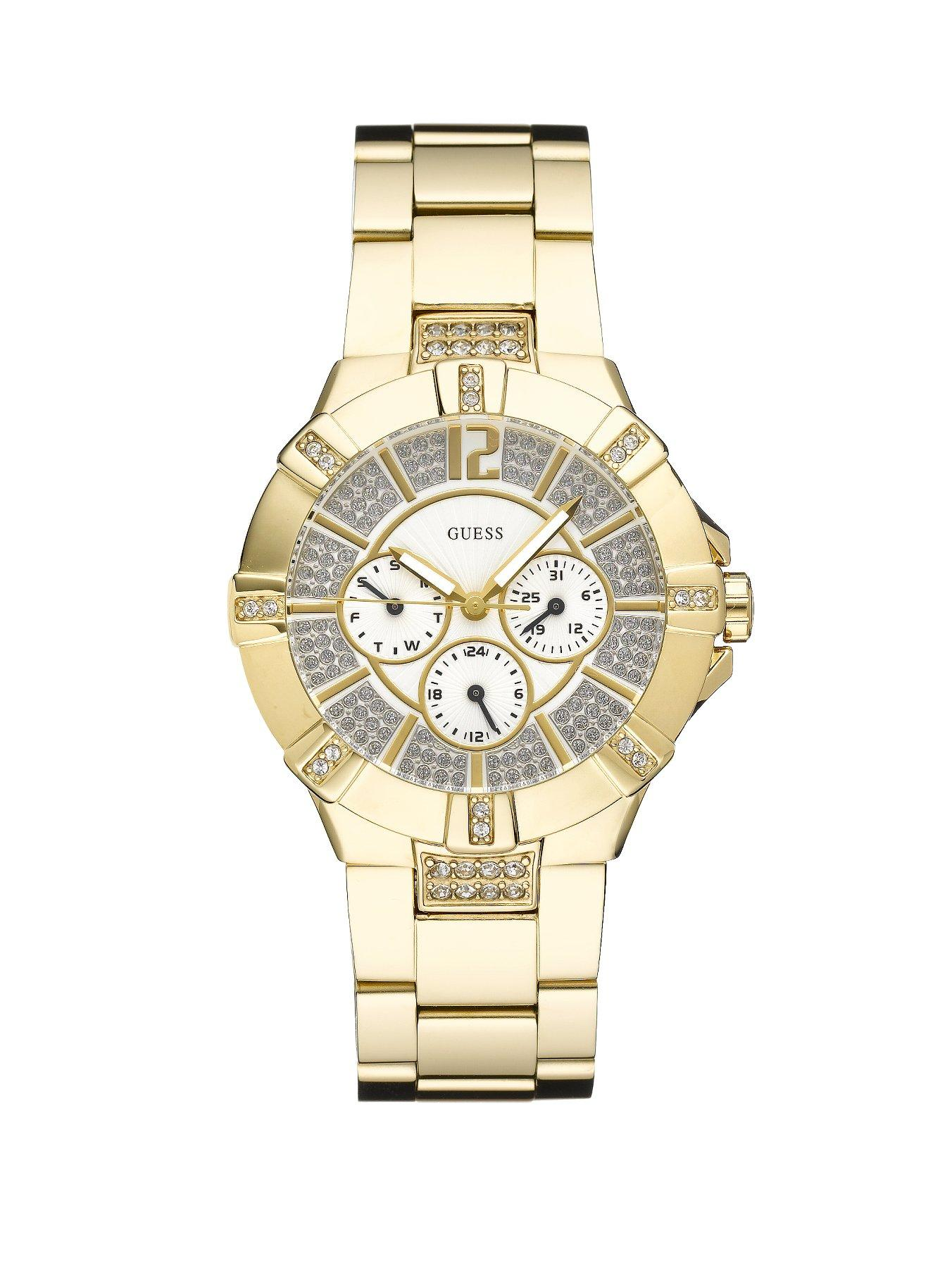 Guess Vista Crystal Set Gold Plated Stainless Steel Ladies Watch