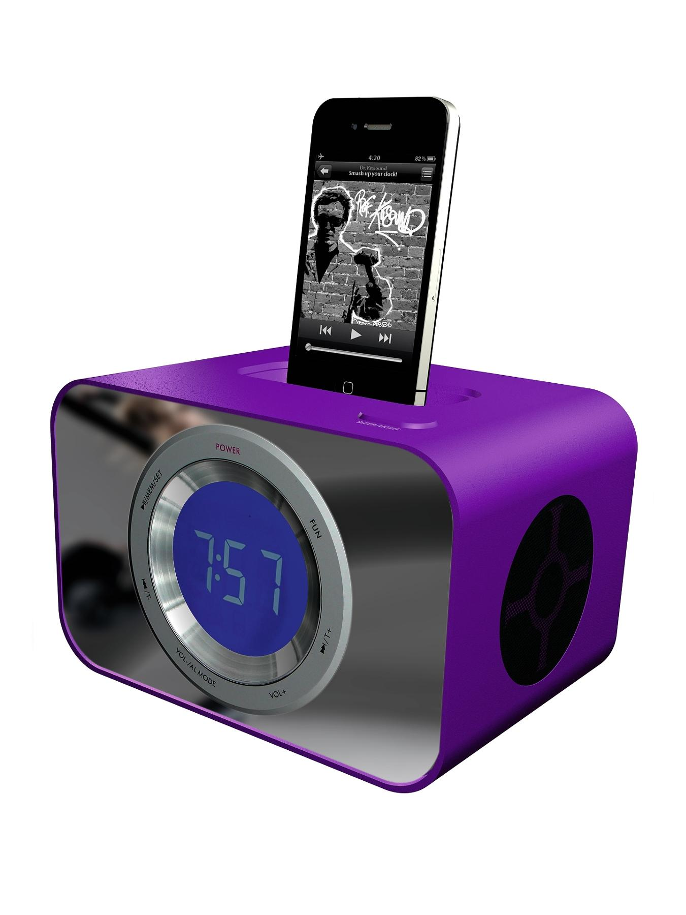 Kitsound Clock Dock - Purple