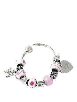 personalised-silver-tone-pink-beaded-heart-charm-bracelet
