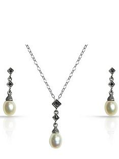 love-silver-sterling-silver-freshwater-pearl-and-marcasite-pendant-and-earring-set