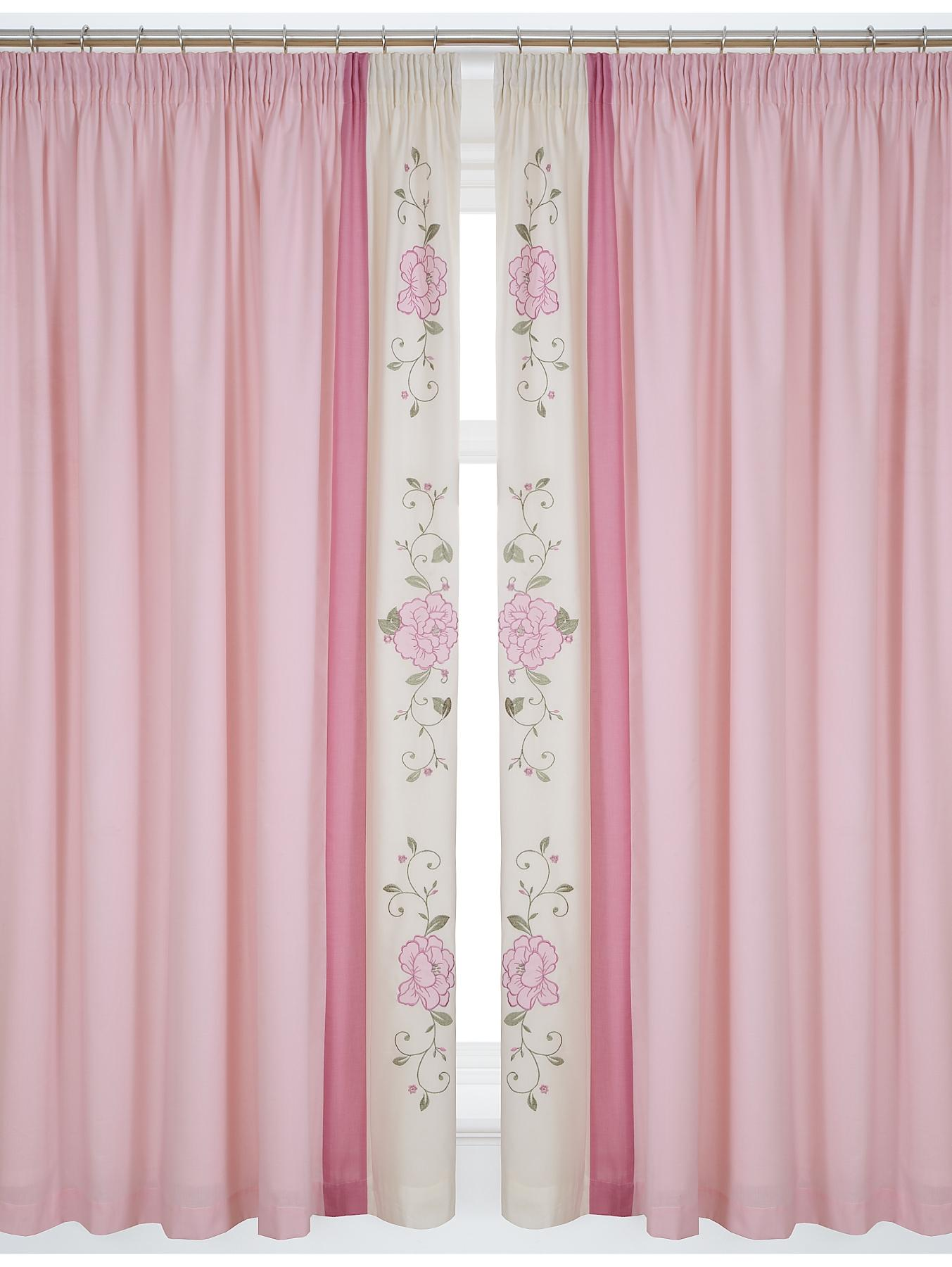 Angelena Lined 3 inch Header Curtains with Tie-backs - Pink, Pink