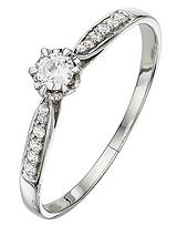 9 Carat White Gold 20 Points Diamond Solitaire Ring with Diamond Shoulders