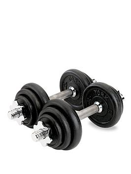 york-15kg-black-cast-iron-dumbbell-set
