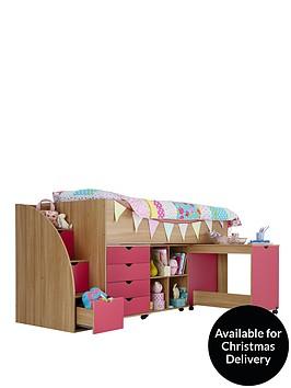 kidspace-milo-mid-sleeper-kids-bed-frame-with-storage-steps