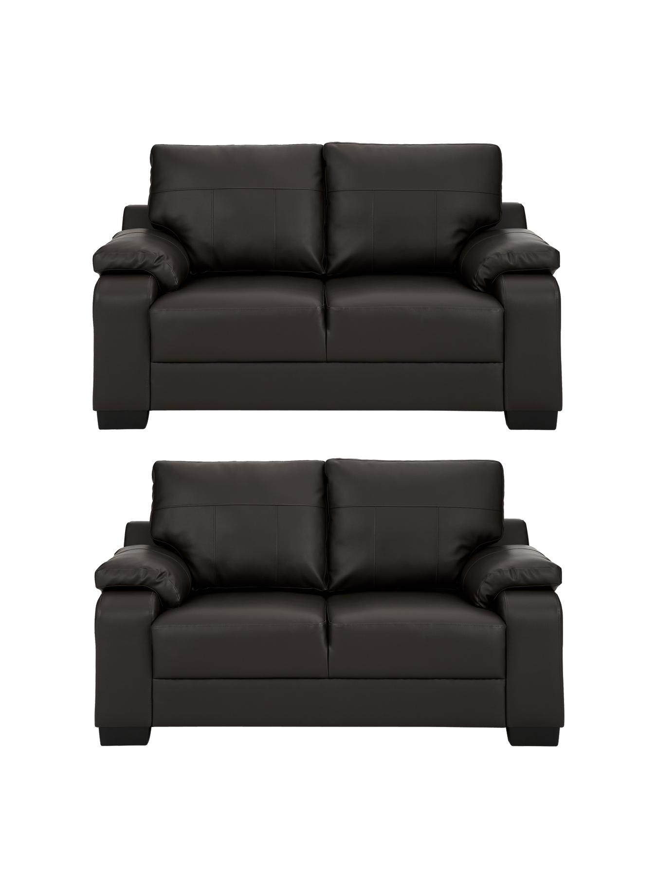 Dino 2-Seater plus 2-Seater Faux Leather Sofa Set (buy and SAVE!) - Chocolate, Chocolate,Black