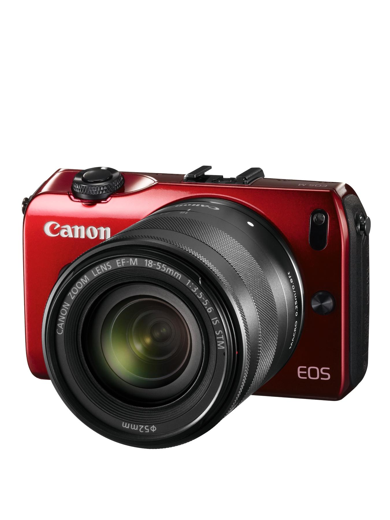 Canon EOS M 18 Megapixel Compact System with 18-55mm Lens - Red
