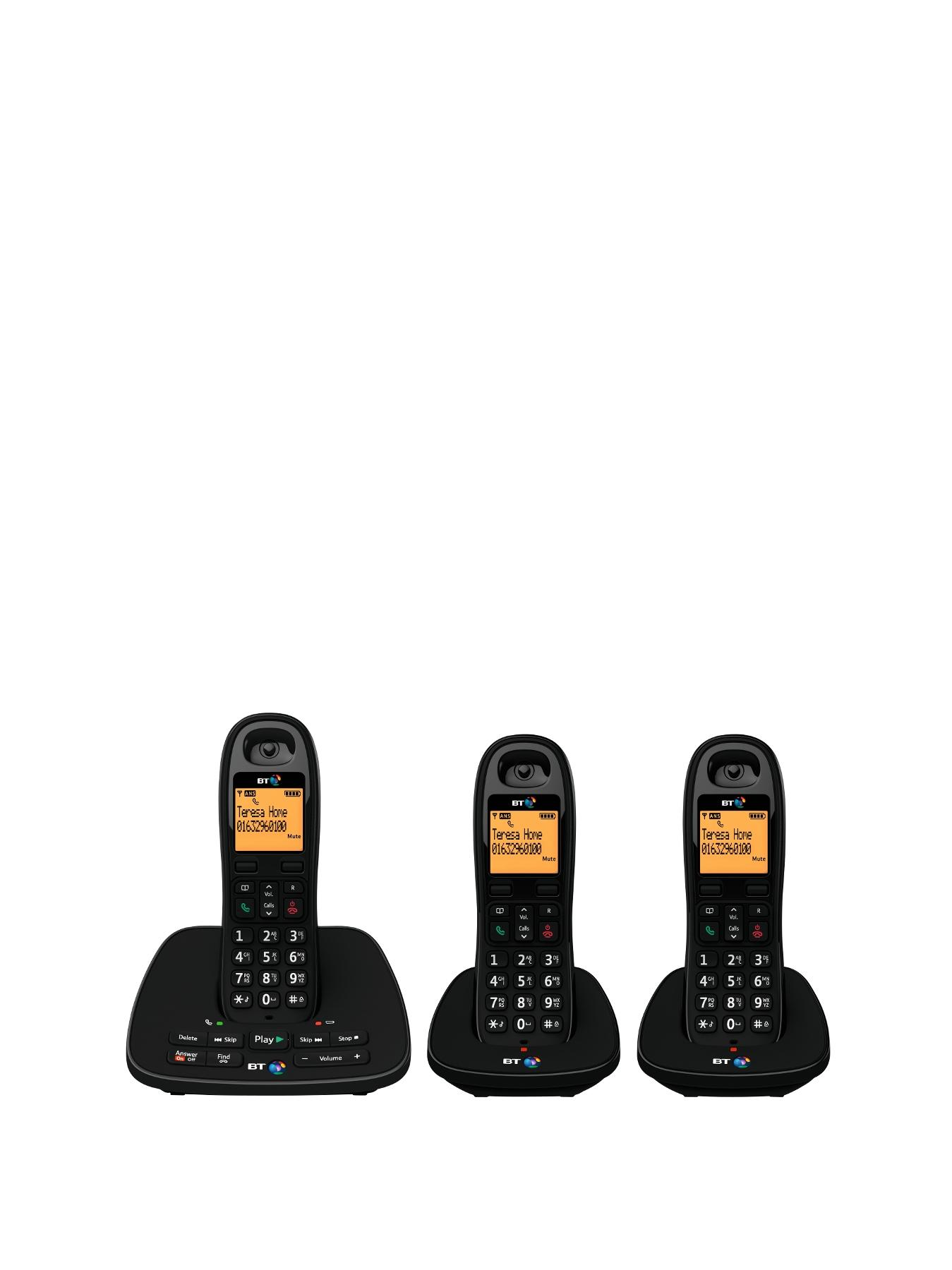 BT 1500 Cordless Telephone with Answering Machine - Trio Pack