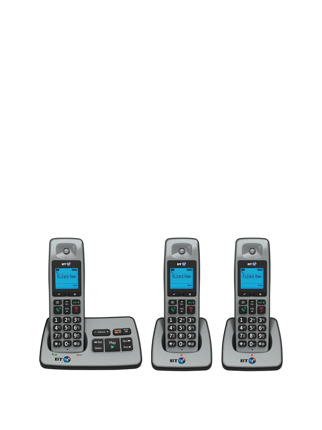 BT 2500 Cordless Telephone with Answering Machine - Trio Pack