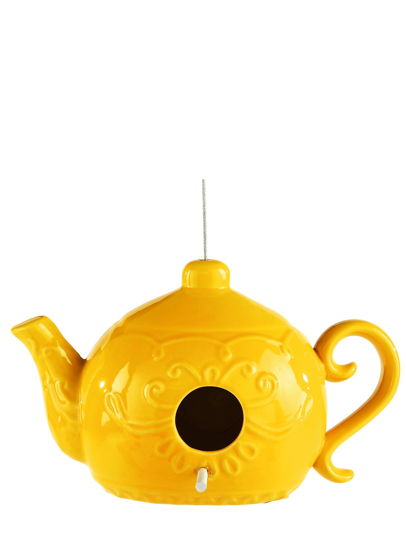 Ceramic Teapot Birdhouse - Yellow