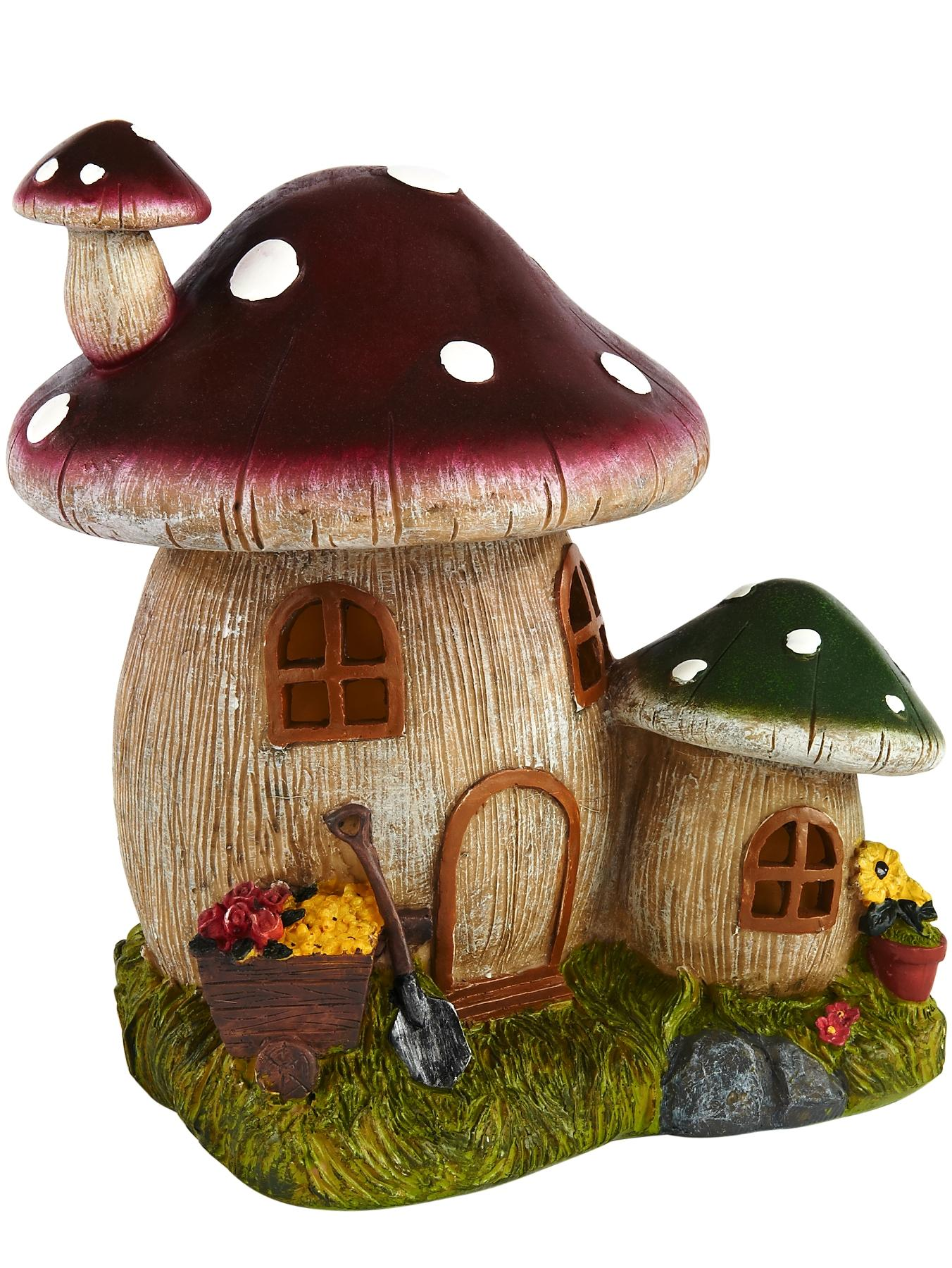 Solar Toadstool House Light Decoration