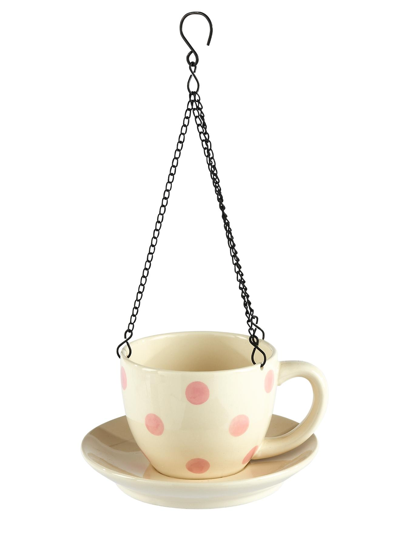 Ceramic Teacup Birdfeeder - Pink