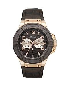 guess-mens-rigor-brown-leather-strap-watch