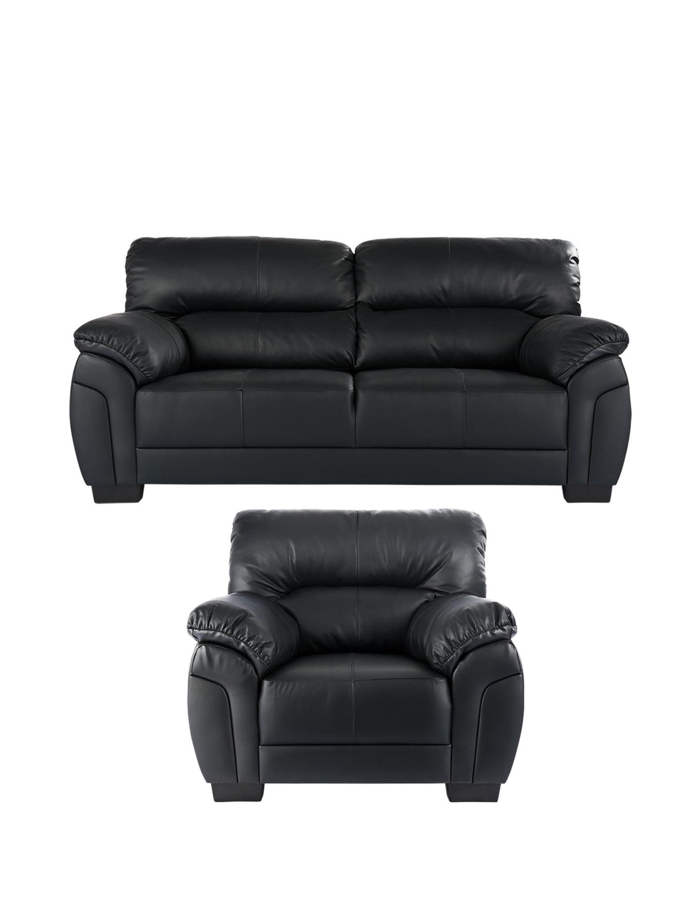 Ancona 3-Seater and Armchair (buy and SAVE!) - Black, Black,Chocolate