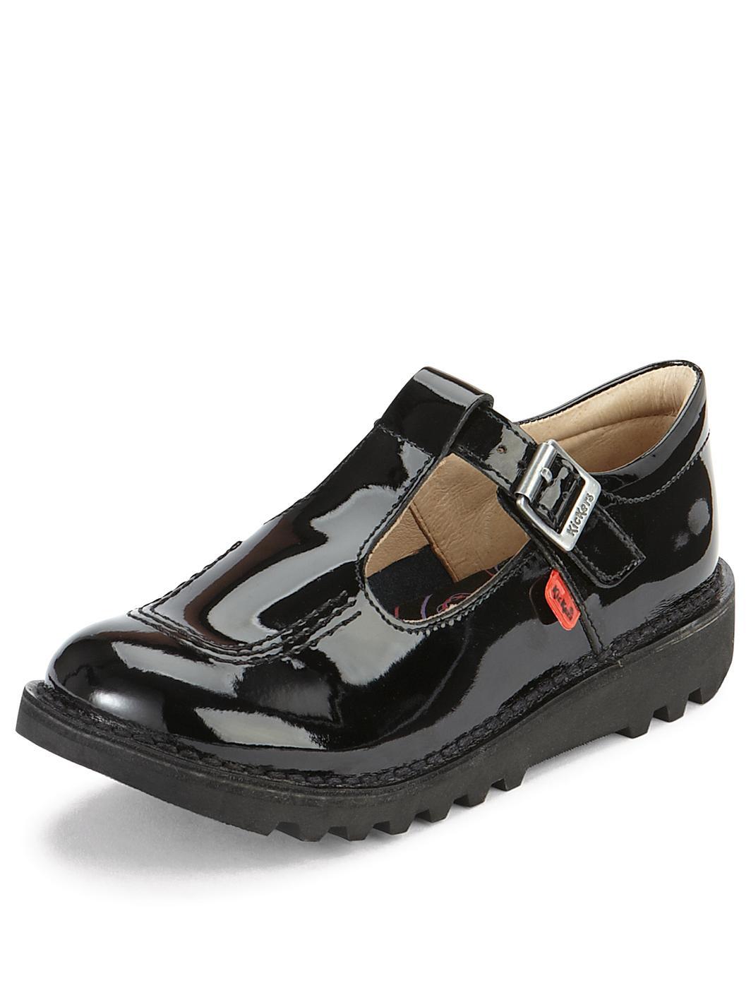 Kickers Fragma T-Bar Older Girls School Shoes Black