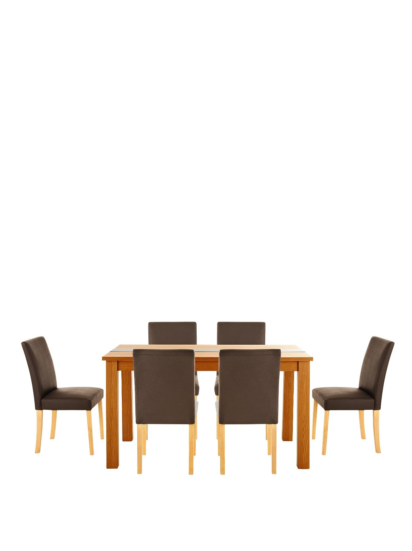 Primo 150 cm Glass Panel Dining Table and 6 Lucca Chairs Set - Black, Black,Cream,Brown