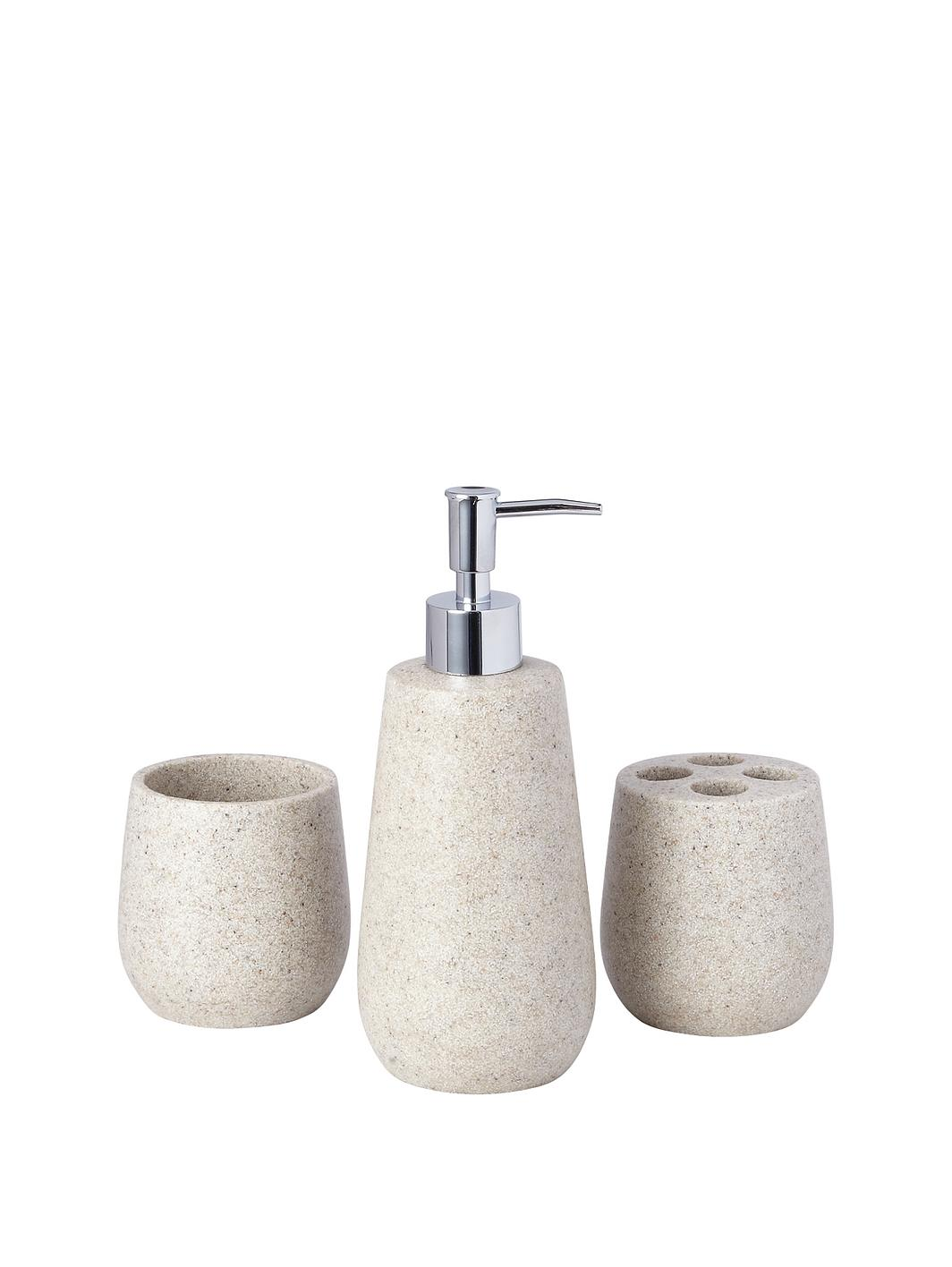 Stone effect 3 piece bathroom accessory set for Three piece bathroom