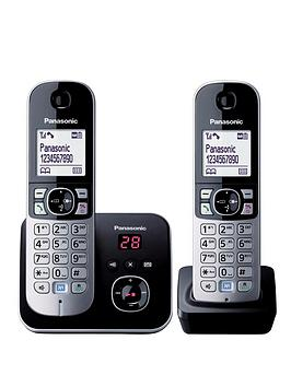 panasonic-kx-tg6822eb-twin-pack-cordless-telephone-with-answering-machine-black