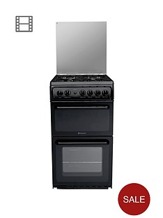 hotpoint-hagl51k-50cm-twin-cavity-gas-cooker-black