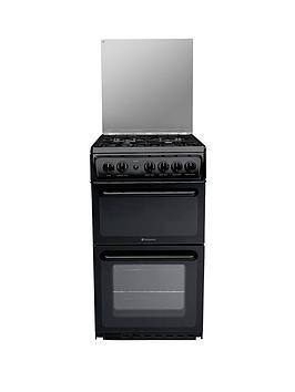 hotpoint-hagl51k-50cm-twin-cavity-gas-cooker-black
