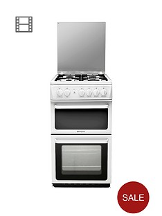 hotpoint-hagl51p-50cm-twin-cavity-gas-cooker-white