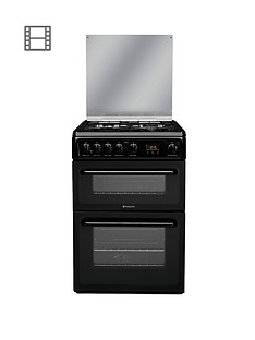 hotpoint-hagl60k-60cm-double-oven-gas-cooker-black