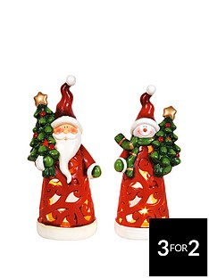 santa-and-snowman-christmas-tealight-holders-set-of-2