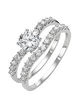 9 Carat White Gold Cubic Zirconia Two Piece Bridal Set