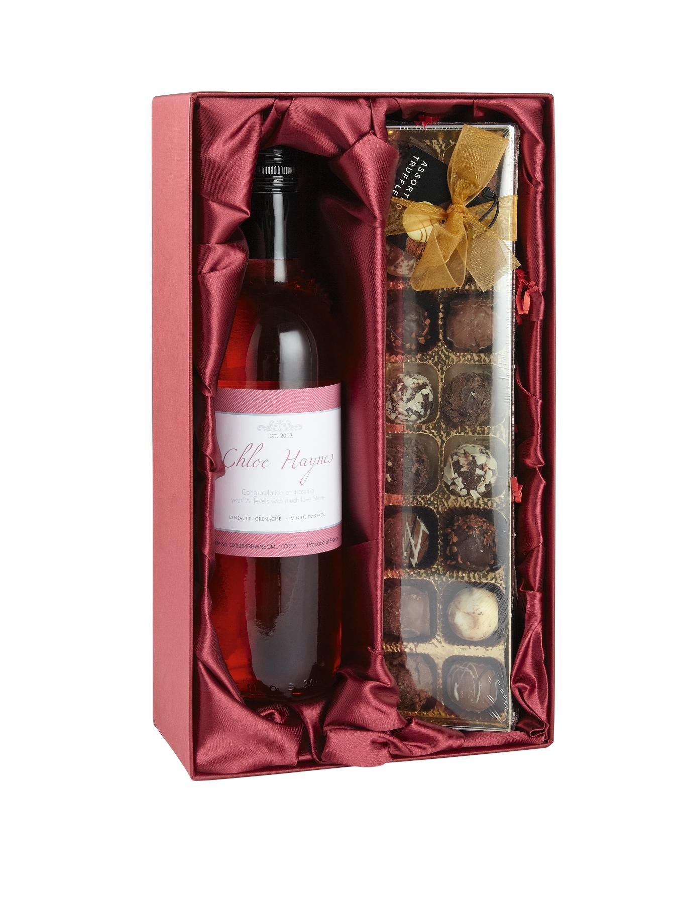 Personalised Rose Wine and Chocolates Gift Set