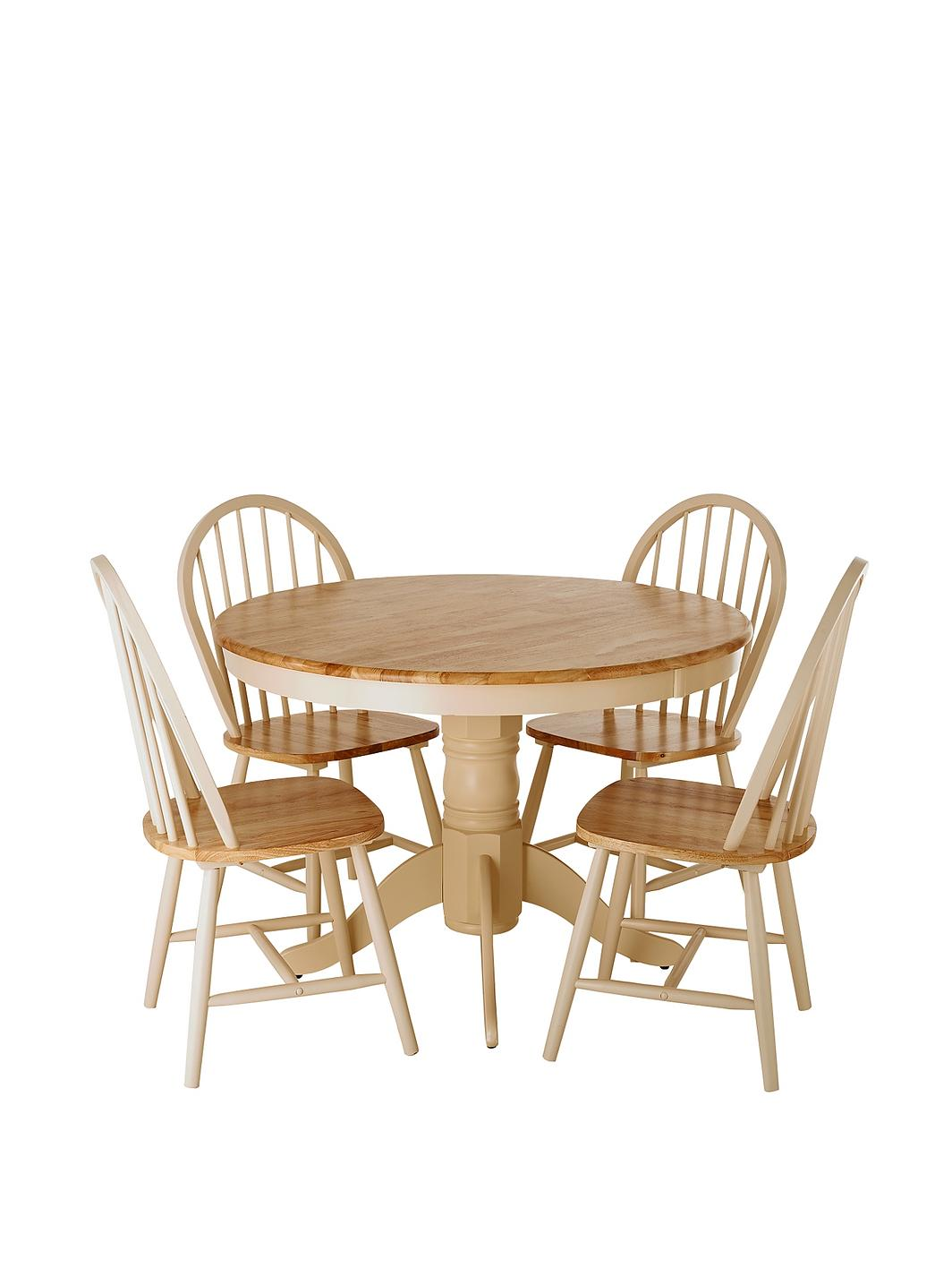 Kildare round dining table and 4 chairs set for Round dining table for 4