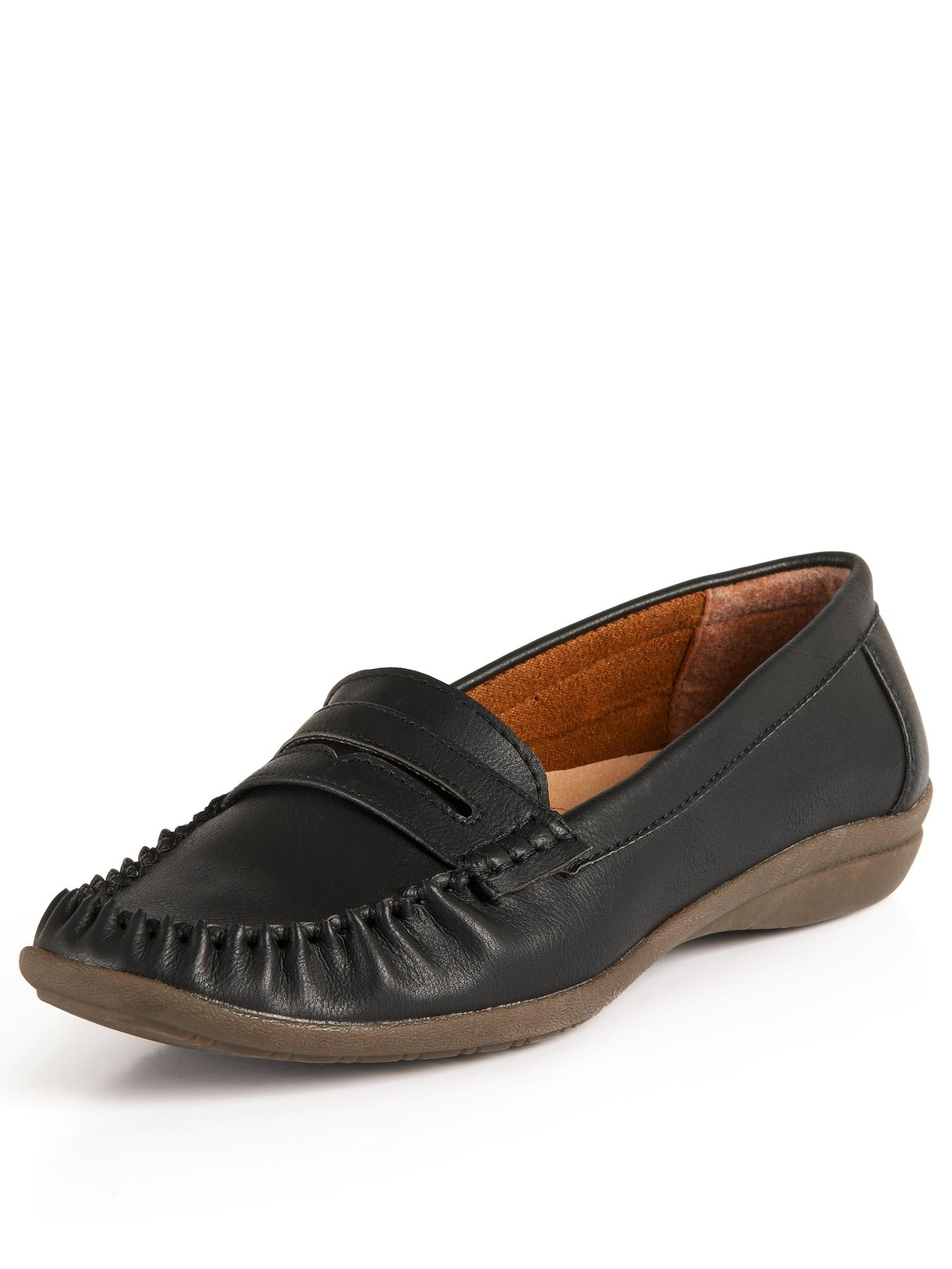 Foot Cushion Josie Casual Comfort Loafers - Black, Black