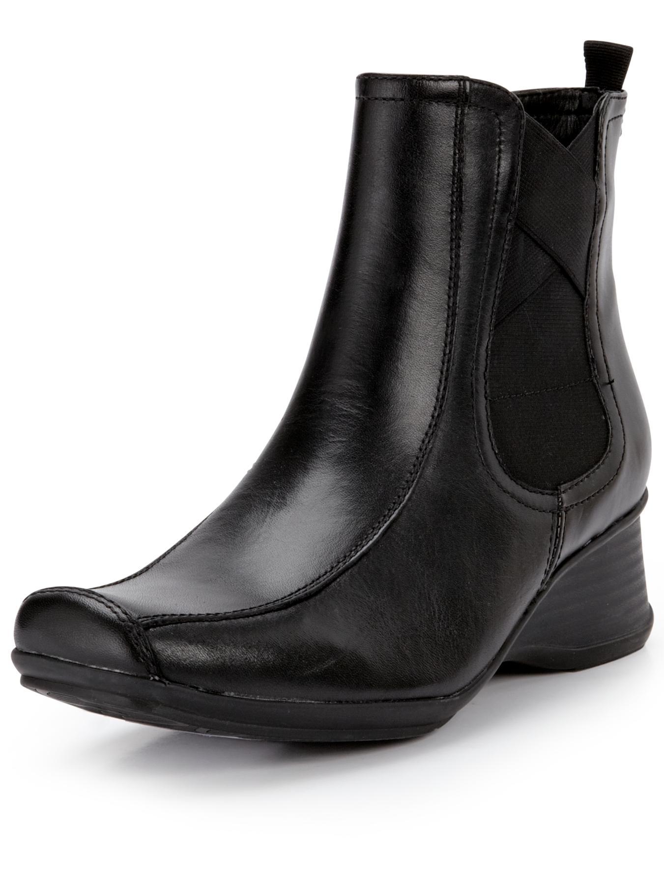 Clarks Lisbon Sky Wedge Ankle Boots - Black, Black
