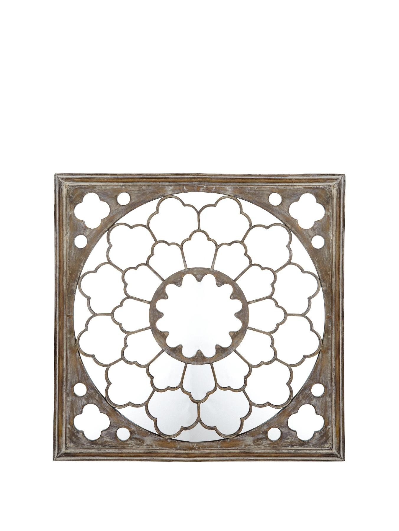 Graham & Brown Silver Fretwork Mirrored Metal Wall Art - Silver, Silver