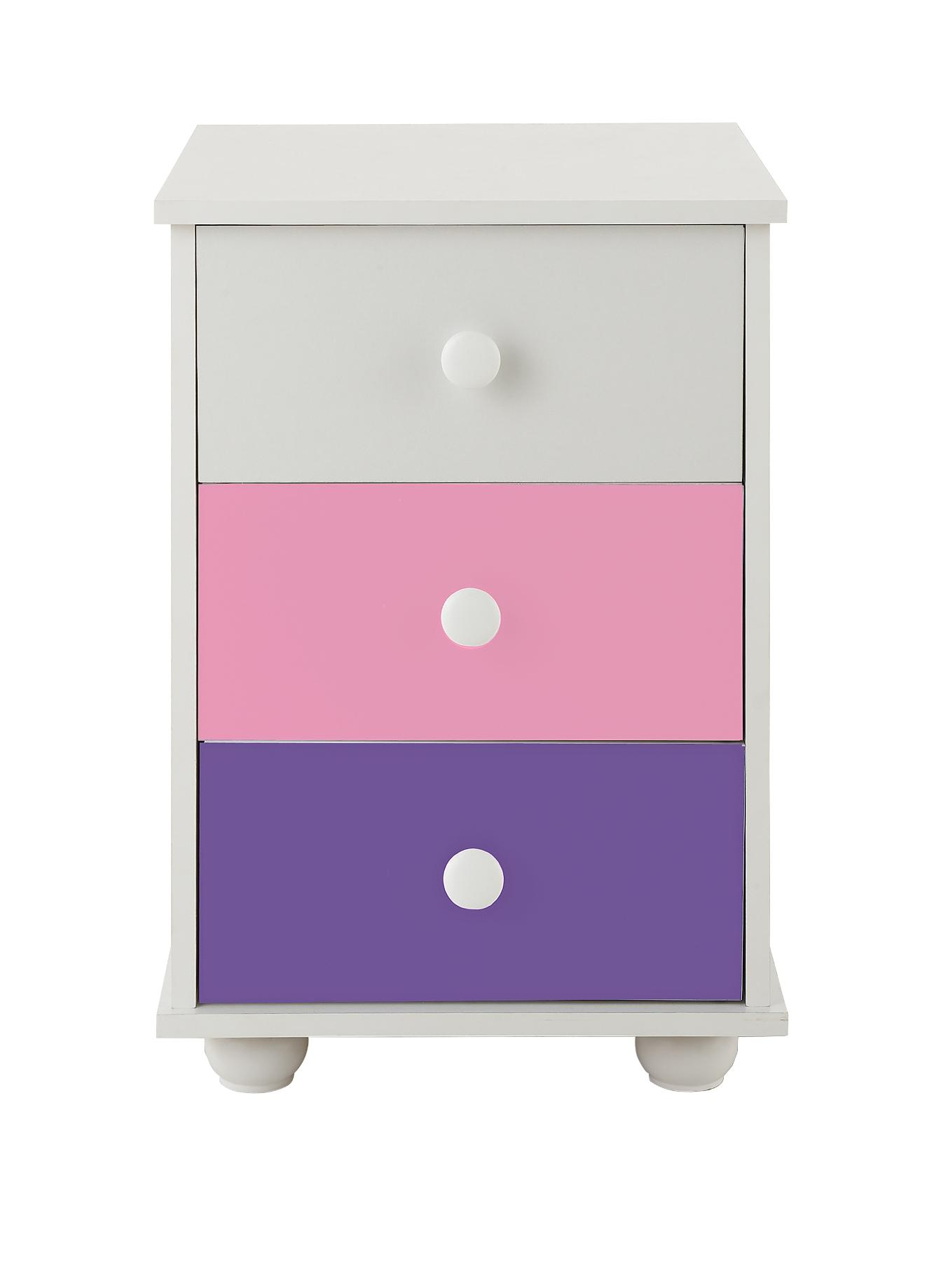 Kidspace New Metro 3-Drawer Bedside Cabinet - White, White
