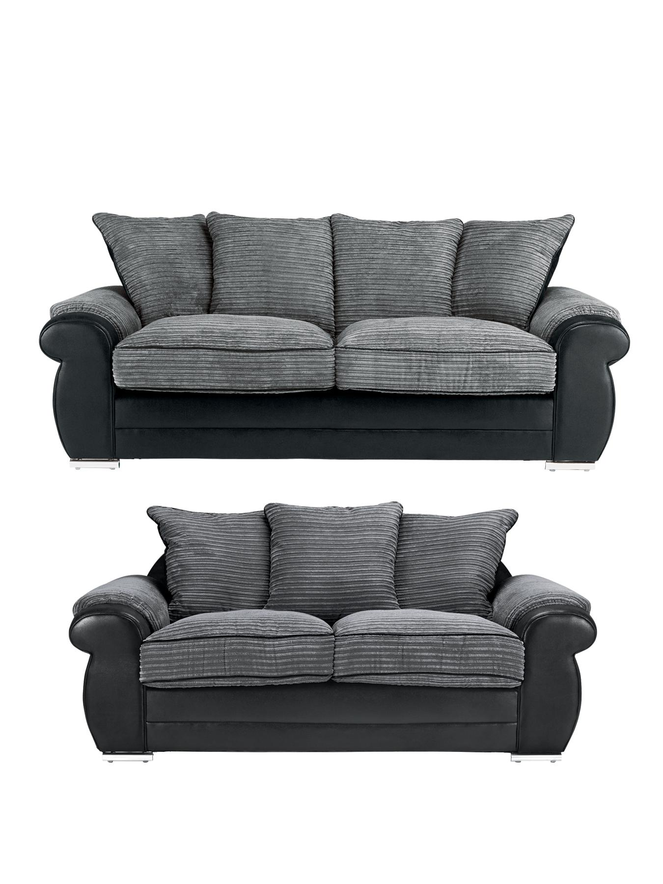 Aura 3-Seater plus 2-Seater Sofa Set (Buy and SAVE!) - Black, Black,Chocolate