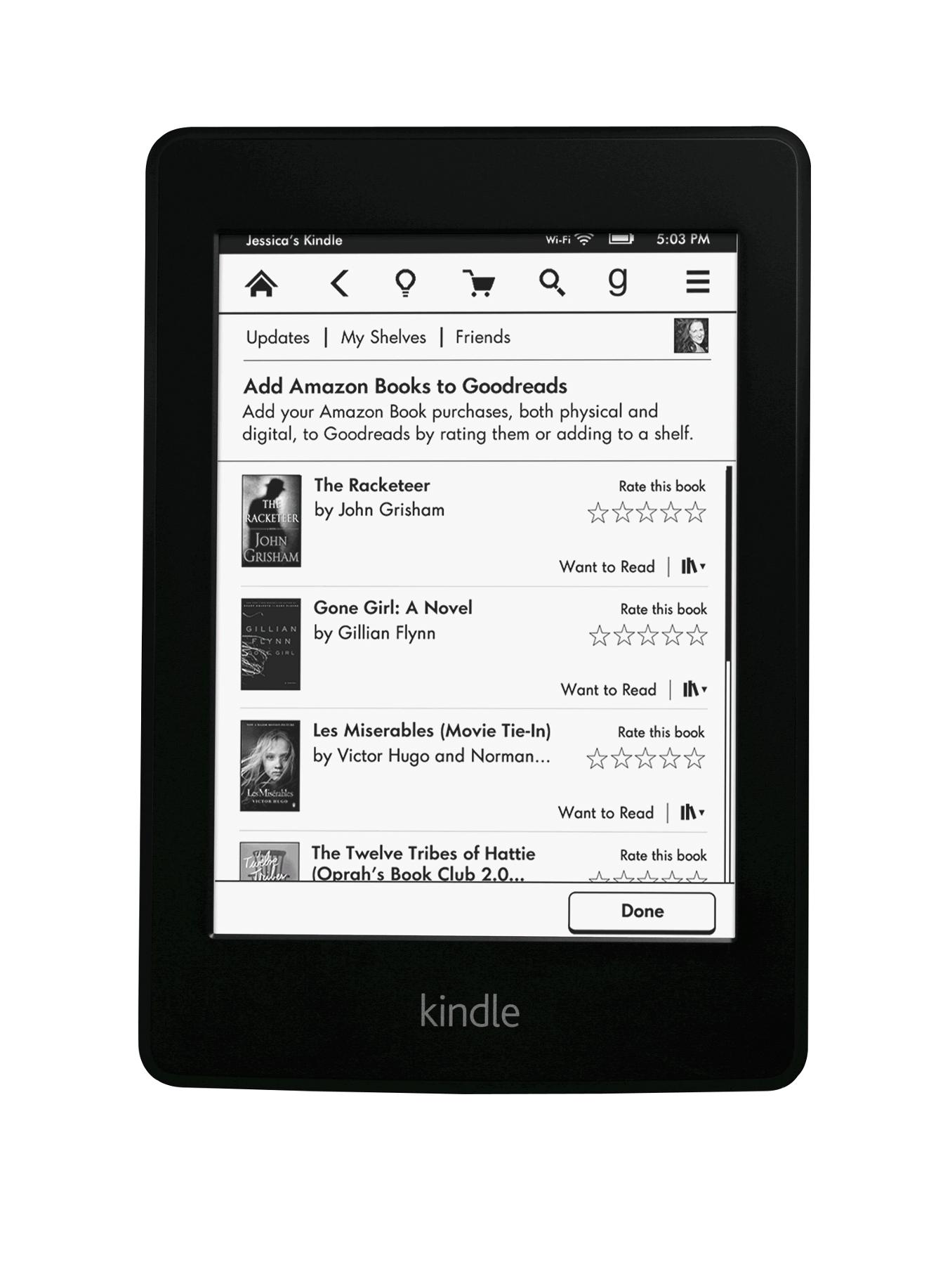 Kindle Paperwhite 6 inch 4Gb E-reader with Wi-Fi and Built-in Light - Black