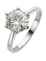 Moissanite 9 Carat White Gold 2 Carat Solitaire Ring