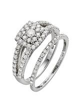 9 Carat White Gold 1 Carat Diamond Square 2 piece Bridal Set