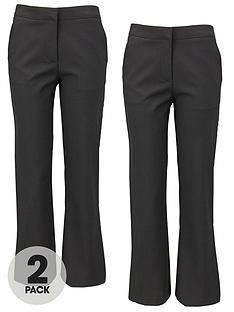 Top Class Girls Woven School Uniform Long Trousers (2 Pack)