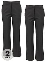 Girls Woven School Uniform Trousers (2 Pack)