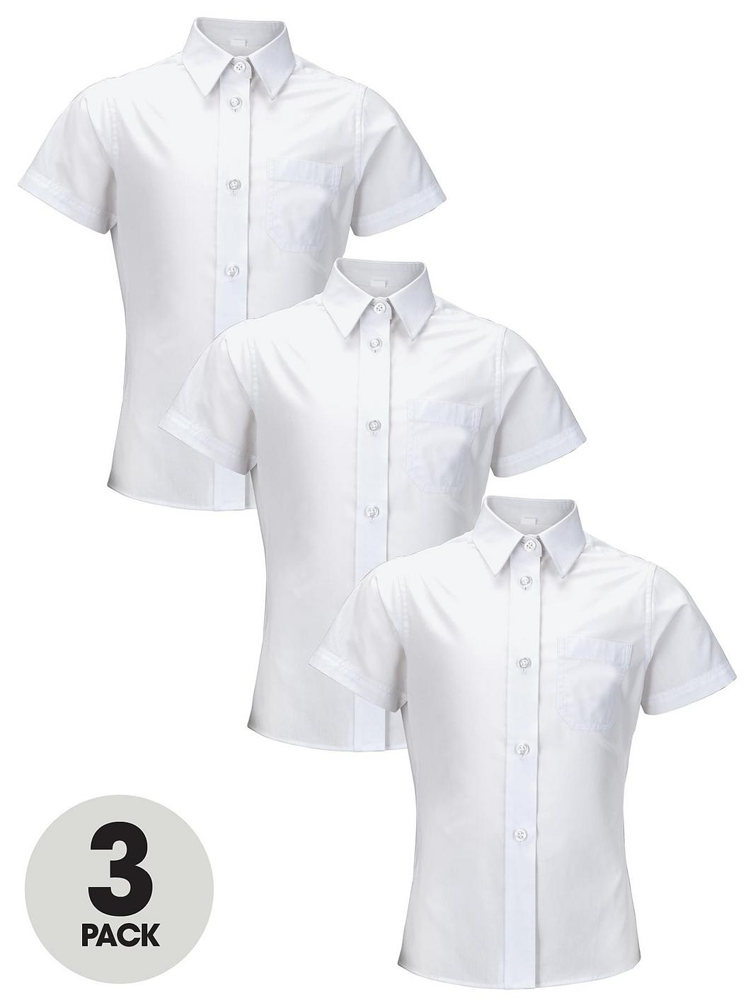 Top Class Girls Short Sleeve School Shirts 3 Pack Very