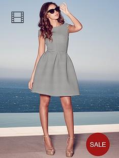 lipsy-michelle-keegan-mono-stripe-bonded-bardot-skater-dress