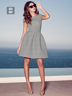 lipsy-michelle-keegan-mono-stripe-bonded-bardot-skater-dress