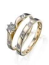 9 Carat Yellow Gold 5 Point Diamond Two Piece Bridal Set