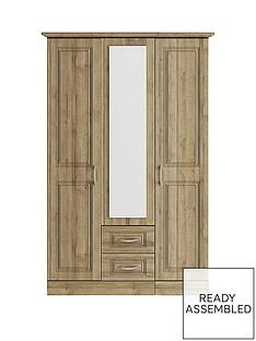 consort-dorchester-3-door-2-drawer-mirrored-wardrobe